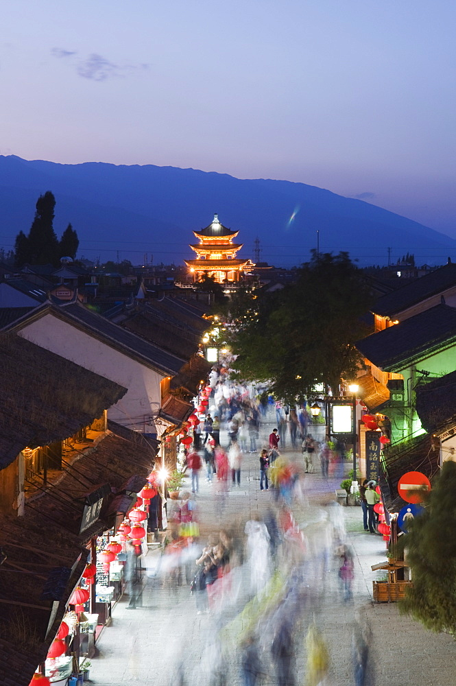 Night view of main street and watch tower, Dali Old Town, Dali, Yunnan Province, China, Asia