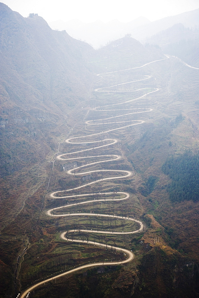 A winding mountain road, China, Asia - 733-3231