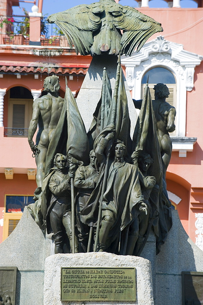 Statue in Park Bolivar, historical old town, UNESCO World Heritage Site, Panama City, Panama, Central America
