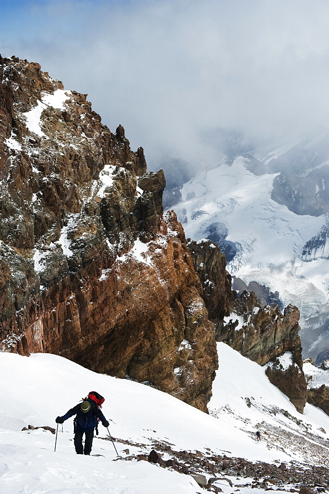 Climber nearing the summit of Aconcagua 6962m, highest peak in South America, Aconcagua Provincial Park, Andes mountains, Argentina, South America