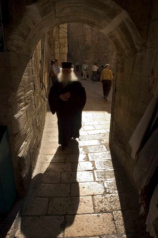 Silhouette of Orthodox priest, Old Walled City, Jerusalem, Israel, Middle East
