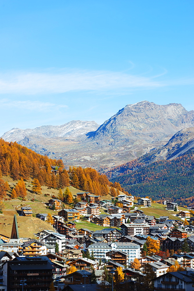 Saas Fee resort in autumn, Valais, Swiss Alps, Switzerland, Europe