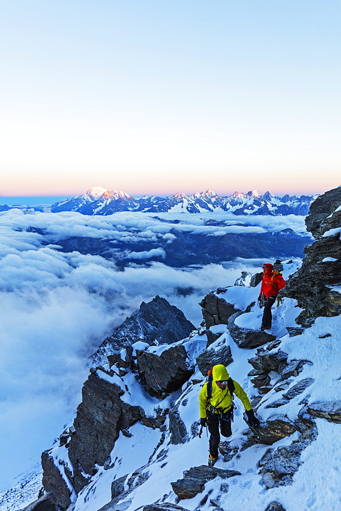 Sunrise view to Mont Blanc in France from Grand Combin, Valais, Swiss Alps, Switzerland, Europe - 733-7532