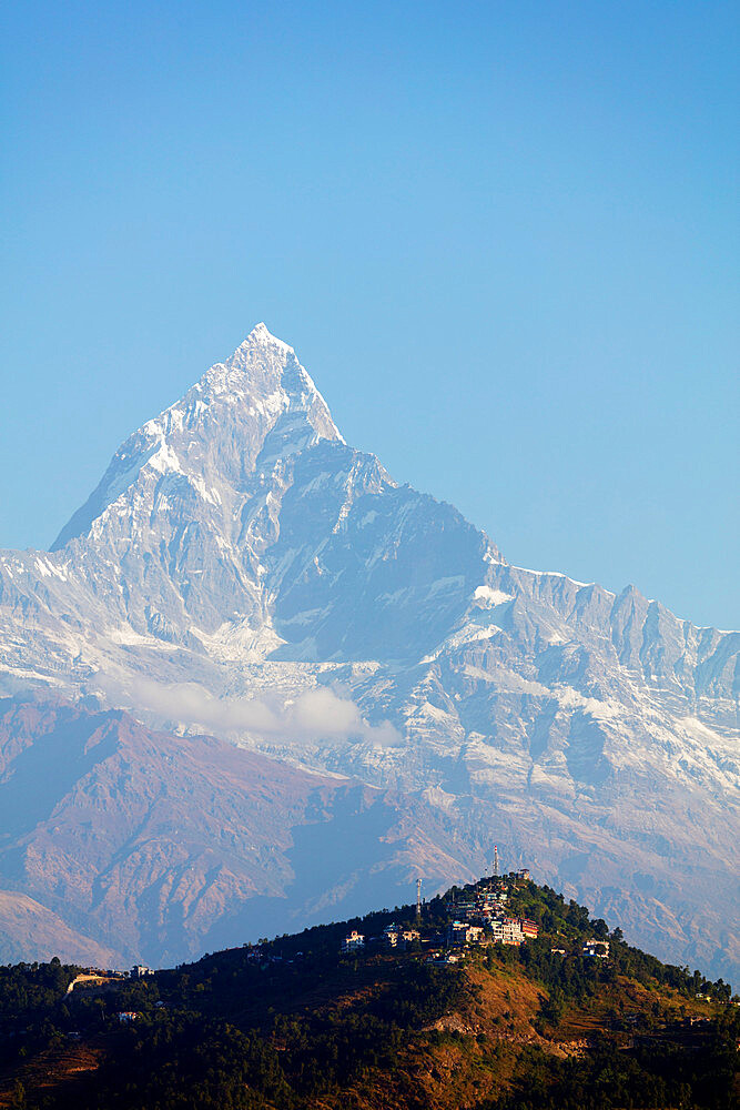 Asia, Nepal, Pokhara, Machapuchare (Fishtail mountain) 6993m and Sarangkot lookout point