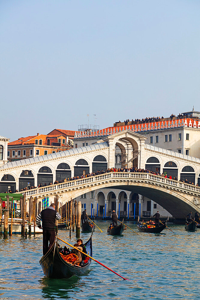 Gondola at Rialto Bridge, Venice, UNESCO World Heritage Site, Veneto, Italy, Europe - 733-7860