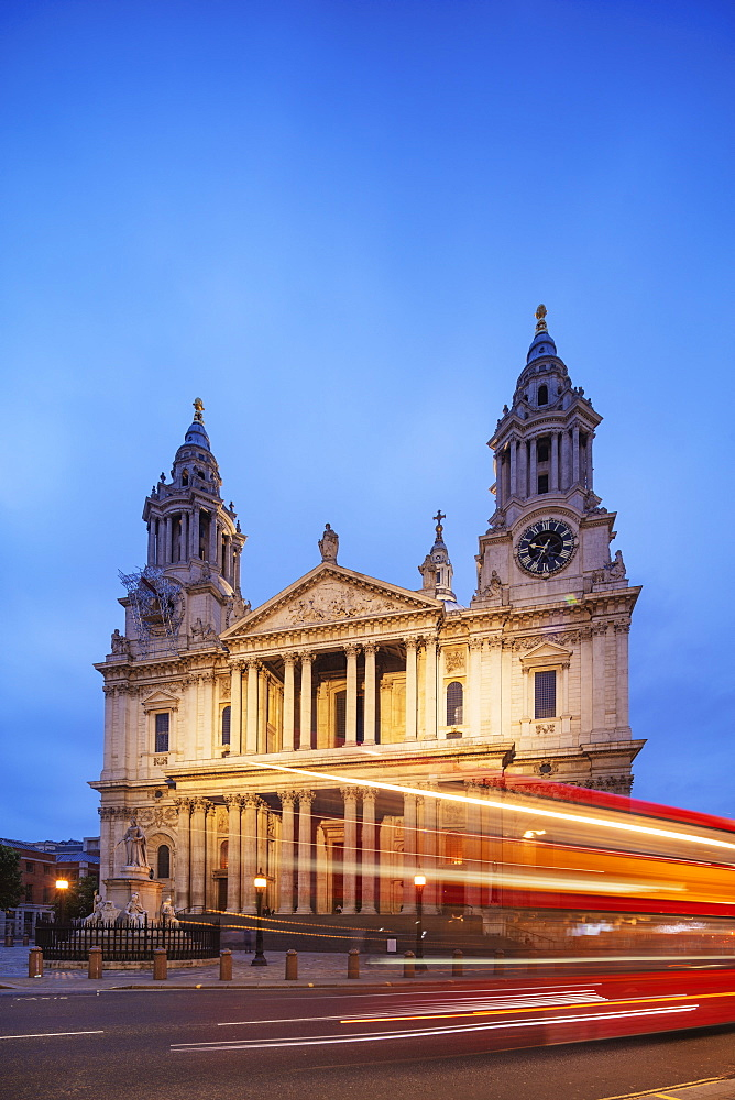 Europe, United Kingdom, England, London, St Paul's Cathedral and a london bus