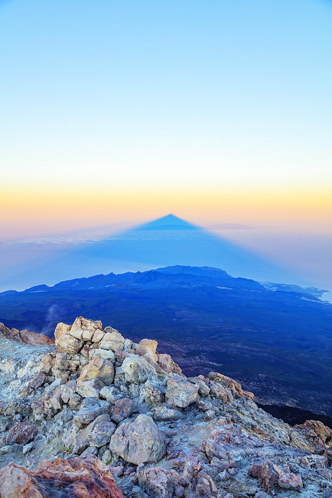 Europe, Spain, Canary Islands, Tenerife, Teide National Park, shadow of Pico del Teide (3718m) highest mountain in Spain - 733-8426