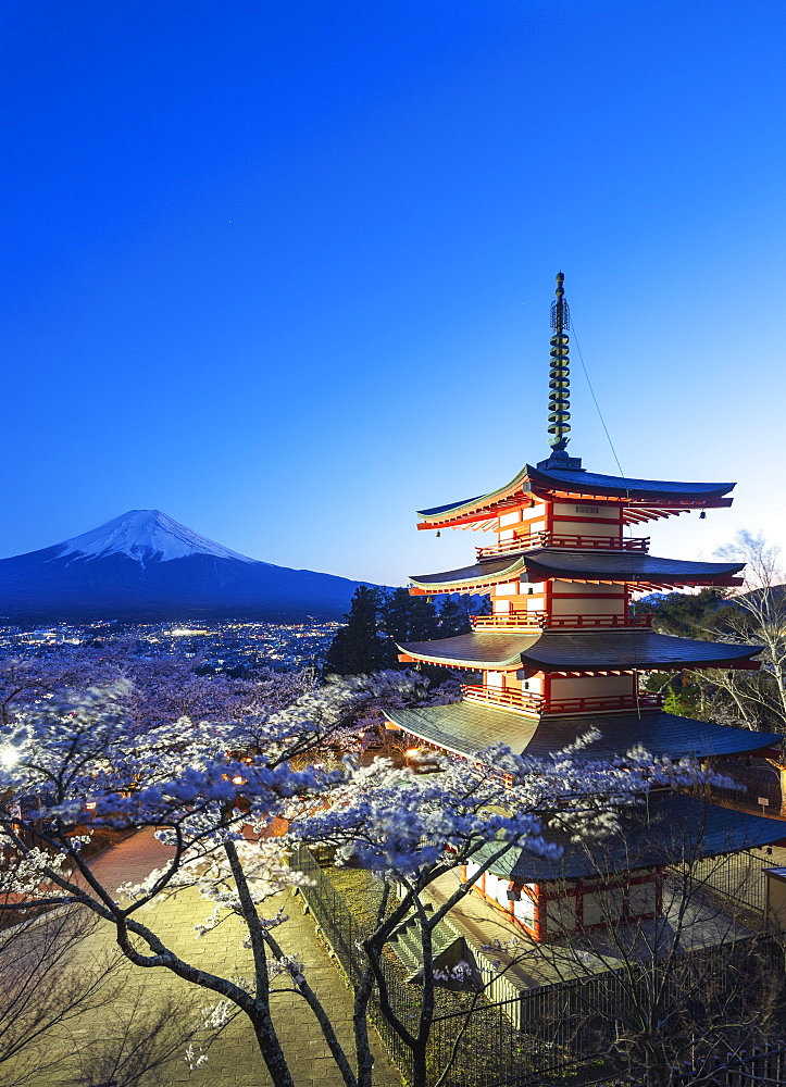 Asia, Japan, Honshu, Yamanashi prefecture, Unesco site, Mt Fuji 3776m, cherry blossom at Chureito Pagoda in Arakurayama Sengen Park