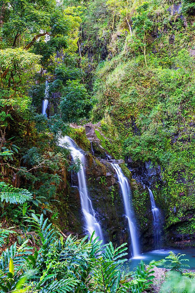 Three Bears falls, waterfall on the road to Hana, Maui Island, Hawaii, United States of America, North America