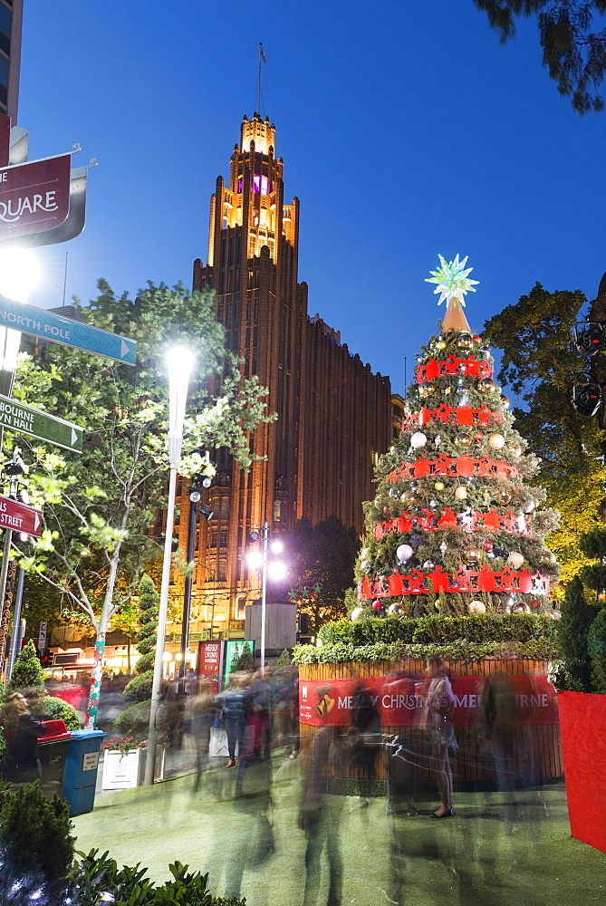 Christmas tree and decorations with Manchester Unity Building at City Square, Melbourne, Victoria, Australia, Pacific - 737-699