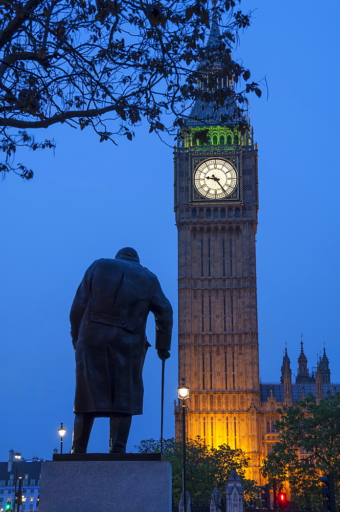 Sir Winston Churchill statue and Big Ben, Parliament Square, Westminster, London, England, United Kingdom, Europe