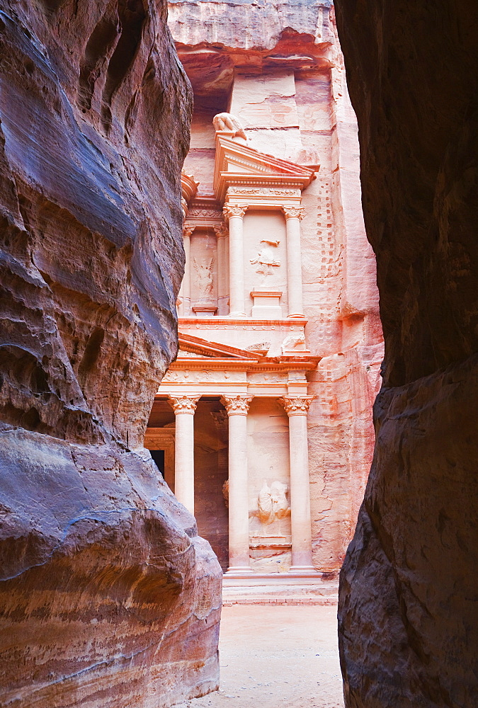 The Treasury seen from the Siq gorge, Petra, UNESCO World Heritage Site, Jordan, Middle East - 756-1171