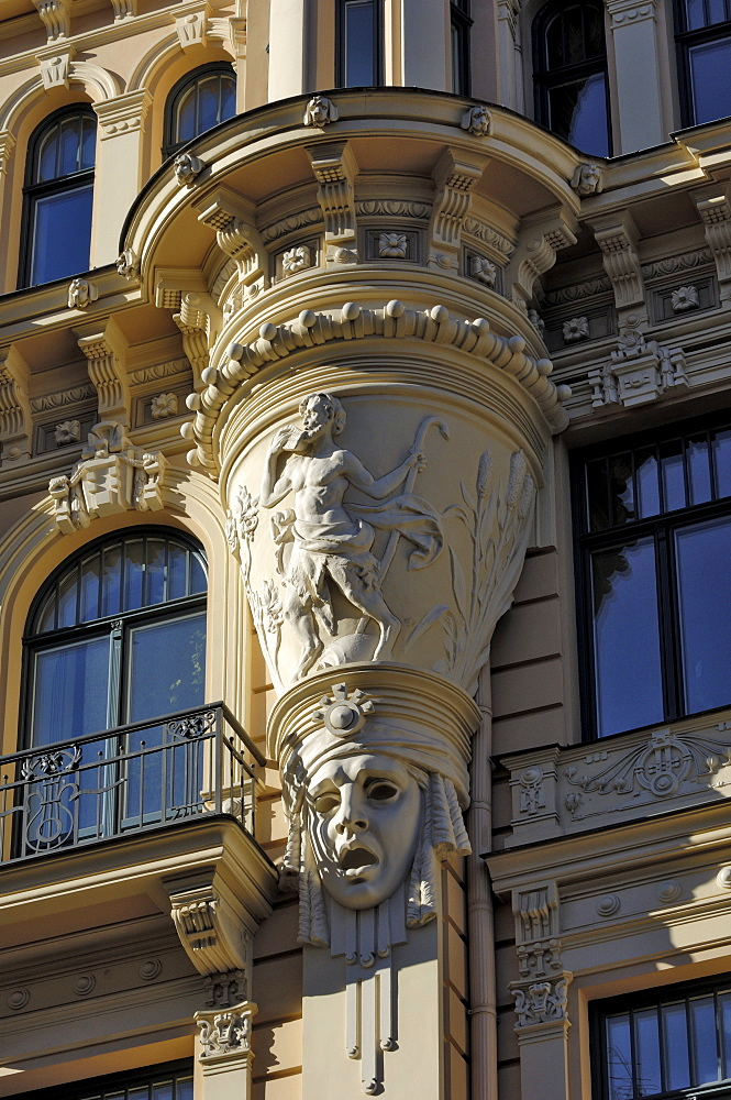 Art Nouveau architecture, 13 Alberta iela, Riga, Lativa, Baltic States, Europe