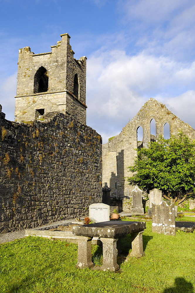 Church and Cong Abbey, County Mayo, Connacht, Republic of Ireland, Europe