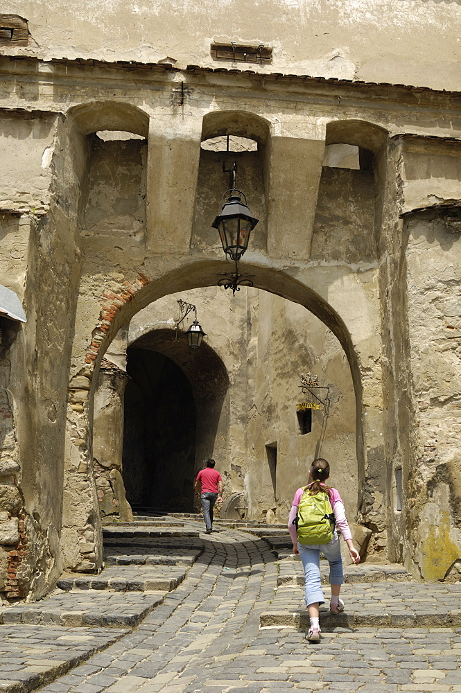 Gateway through the Clock Tower, Sighisoara, Transylvania, Romania, Europe