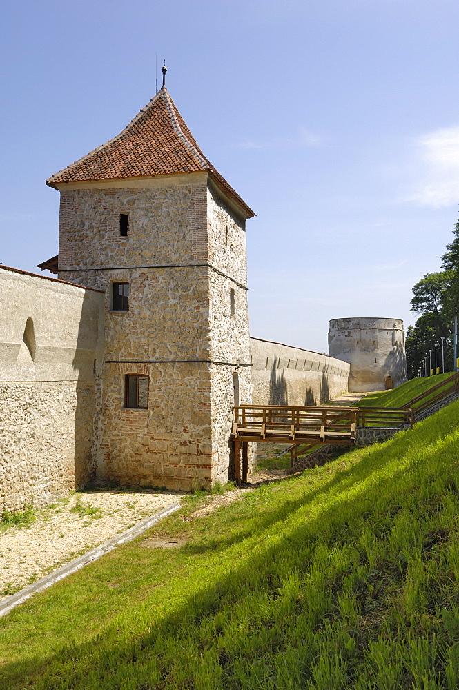 Bastion and city walls, Brasov, Transylvania, Romania, Europe - 762-389