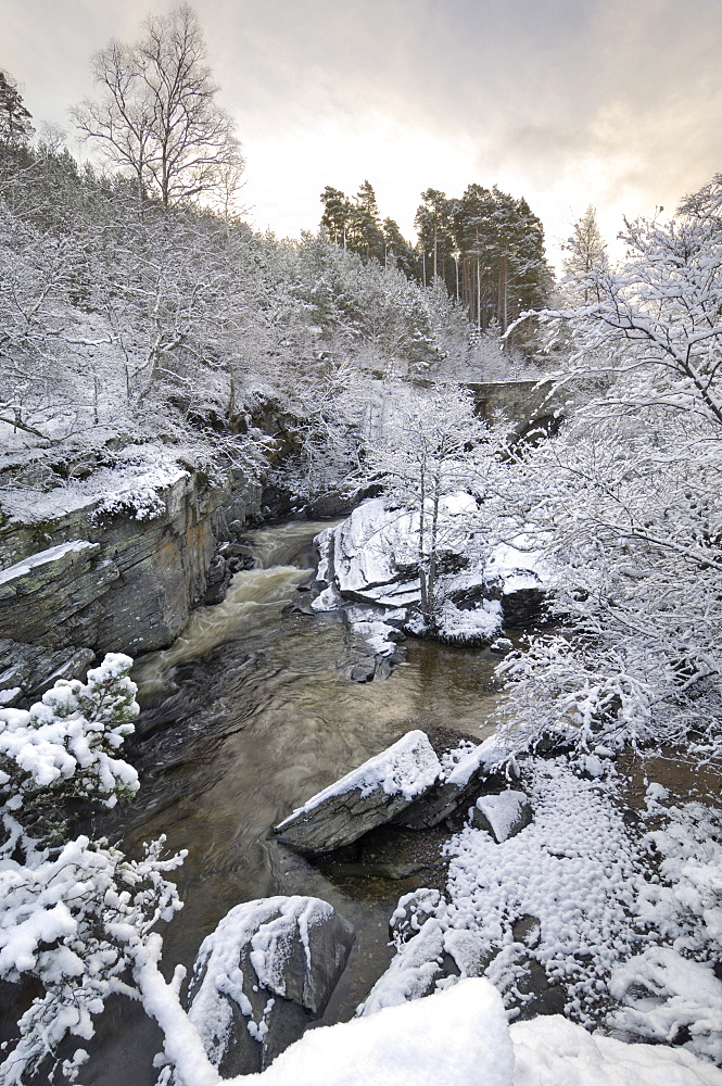 River Tromie in winter snow, Drumguish near Kingussie, Highlands, Scotland, United Kingdom, Europe