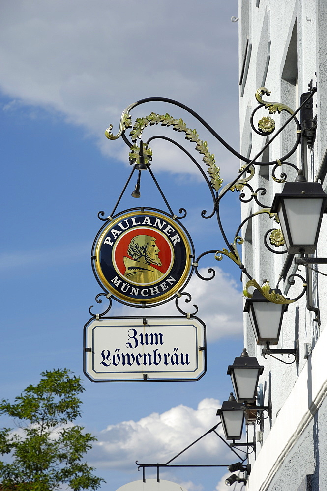 Wrought iron sign advertising Paulaner and Lowenbrau beer, Wolfrathausen, near Munich, Bavaria, Germany, Europe