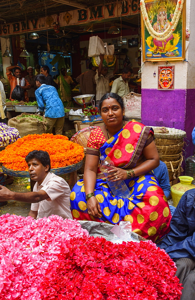 Flower stall at K. R. Market in Banaglore, Karnataka, India, Asia
