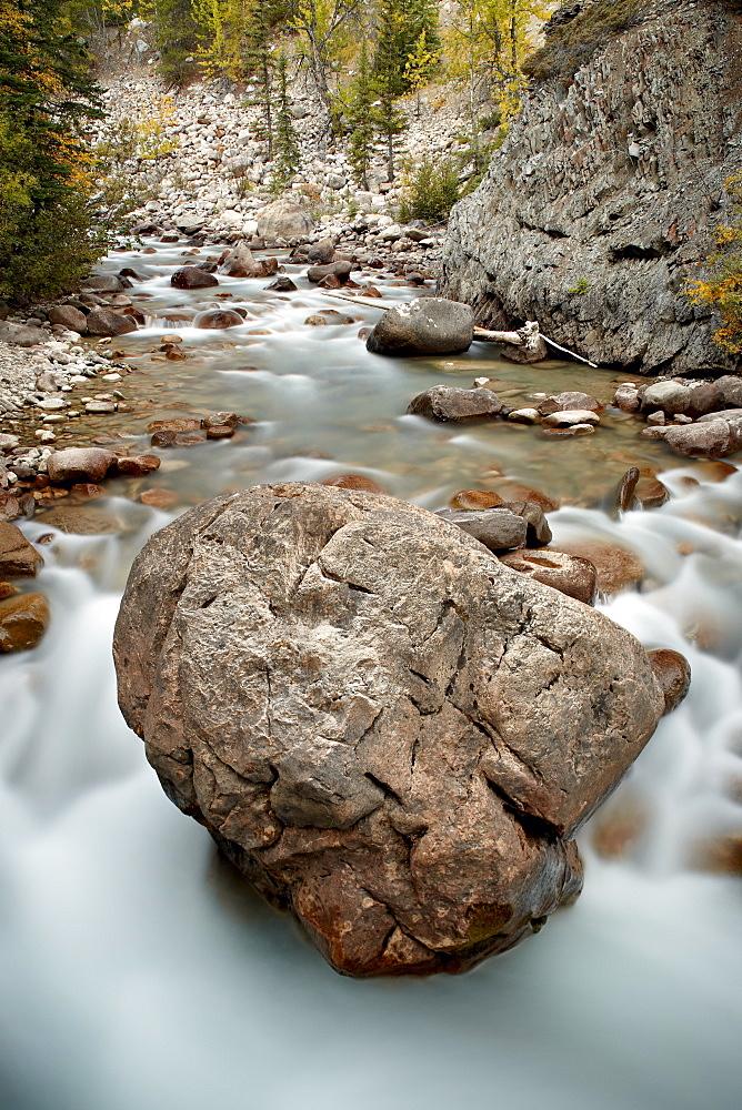 Boulder in the Astoria River, Jasper National Park, UNESCO World Heritage Site, Alberta, Rocky Mountains, Canada, North America