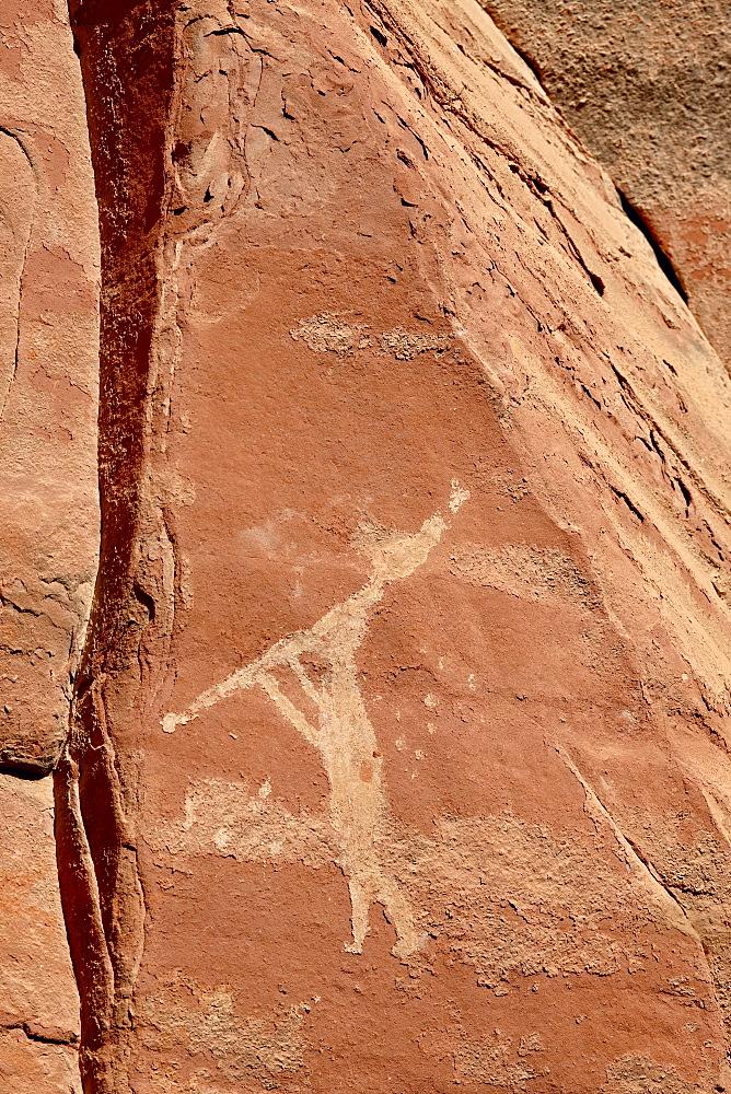 Flute player pictograph, Honanki Heritage Site, Coconino National Forest, Arizona, United States of America, North America