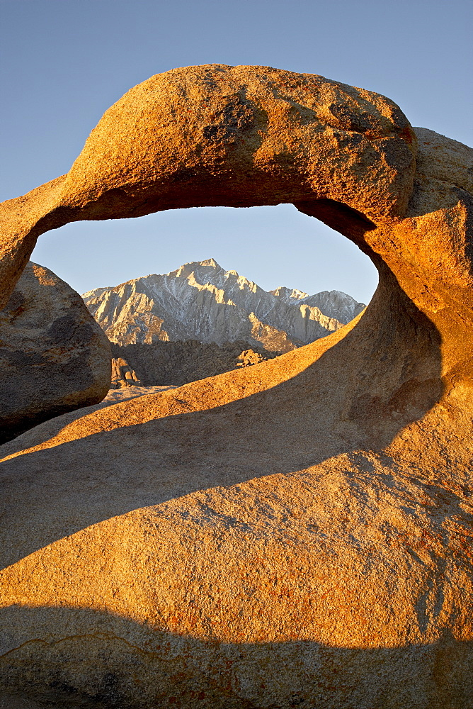 Mobius Arch and Eastern Sierras at first light, Alabama Hills, Inyo National Forest, California, United States of America, North America