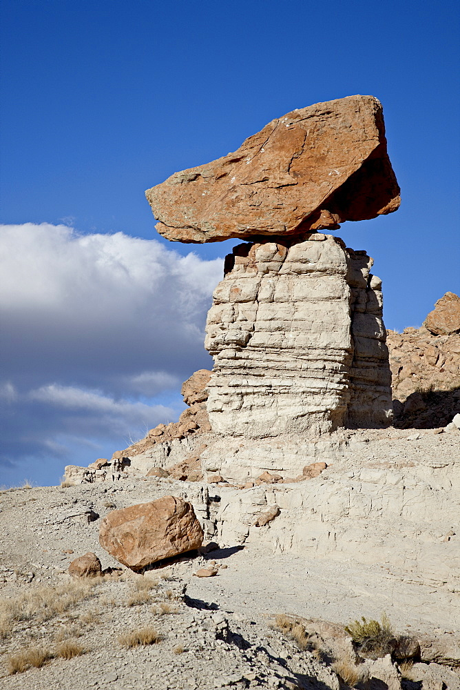 Balanced rock in Plaza Blanca Badlands (The Sierra Negra Badlands), New Mexico, United States of America, North America