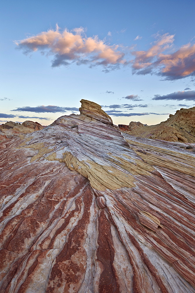 Red and white sandstone stripes at sunrise, Valley of Fire State Park, Nevada, United States of America, North America