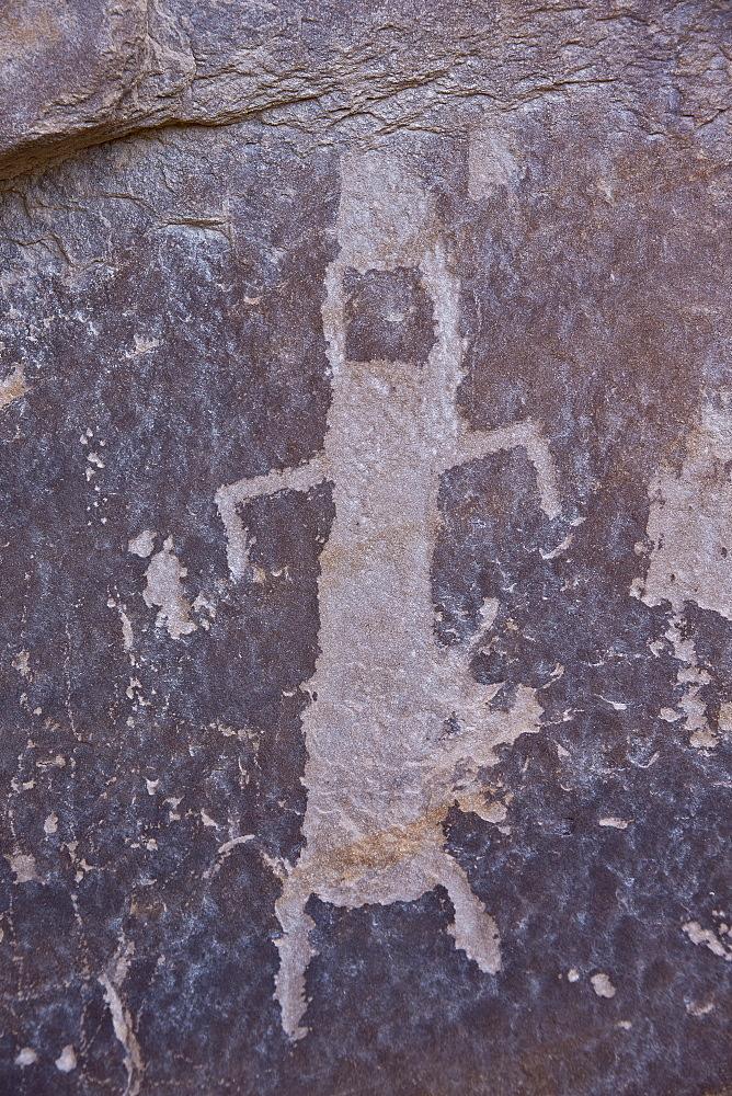 Humanoid petroglyph on the Kohta Circus petroglyph panel, Gold Butte, Nevada, United States of America, North America