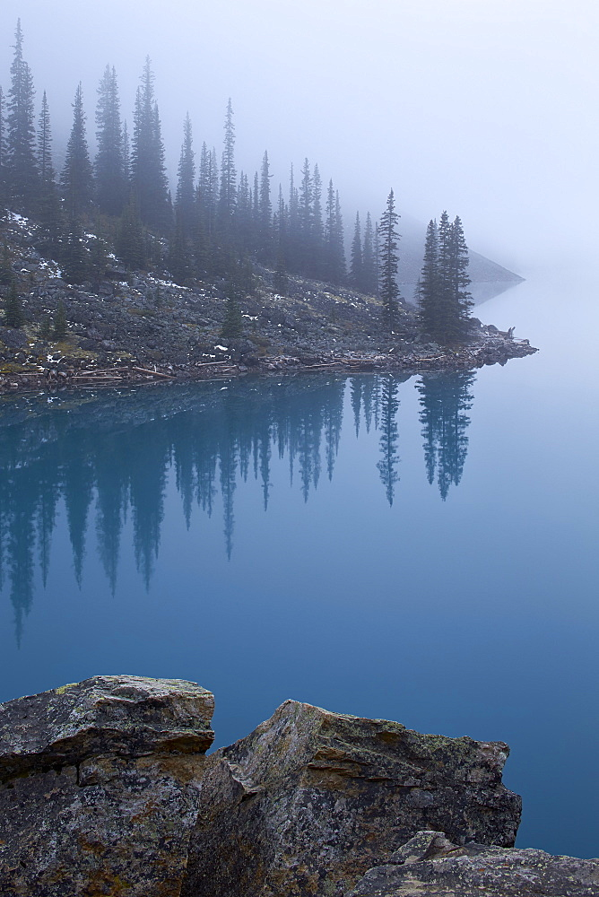 Moraine Lake with fog, Banff National Park, UNESCO World Heritage Site, Alberta, Canada, North America