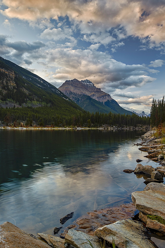 Mount Kerkeslin reflected in Horseshoe Lake, Jasper National Park, UNESCO World Heritage Site, Alberta, Rocky Mountains, Canada, North America