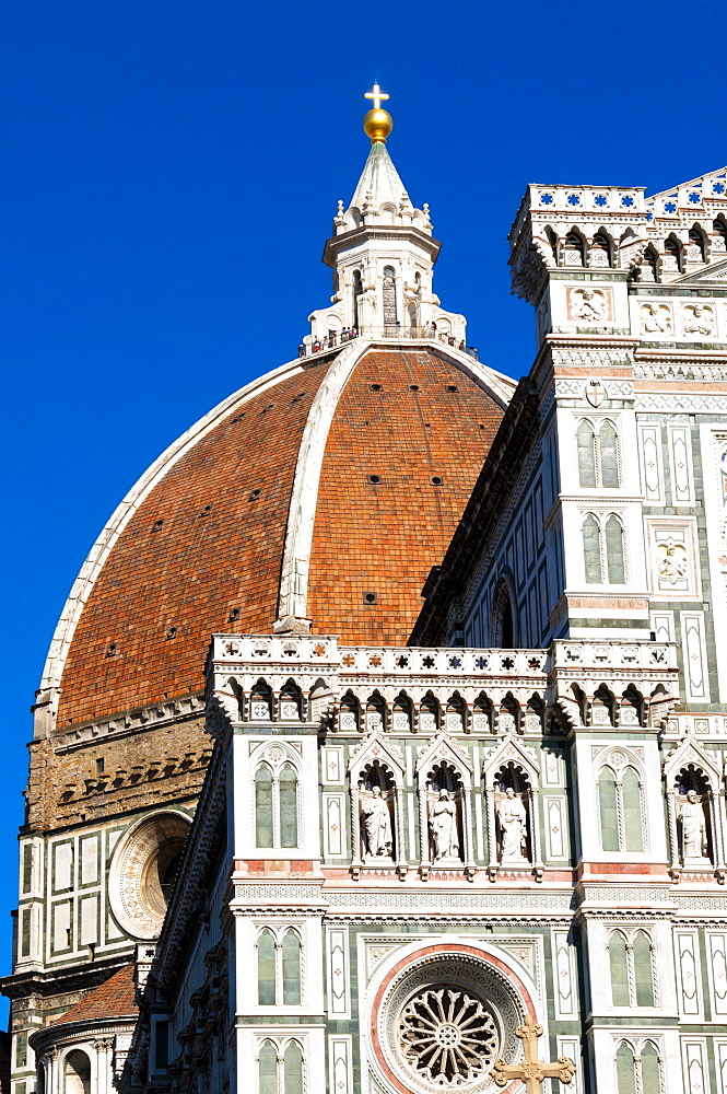 Exterior of the cathedral of Santa Maria del Fiore, Piazza del Duomo, Florence (Firenze), UNESCO World Heritage Site, Tuscany, Italy, Europe