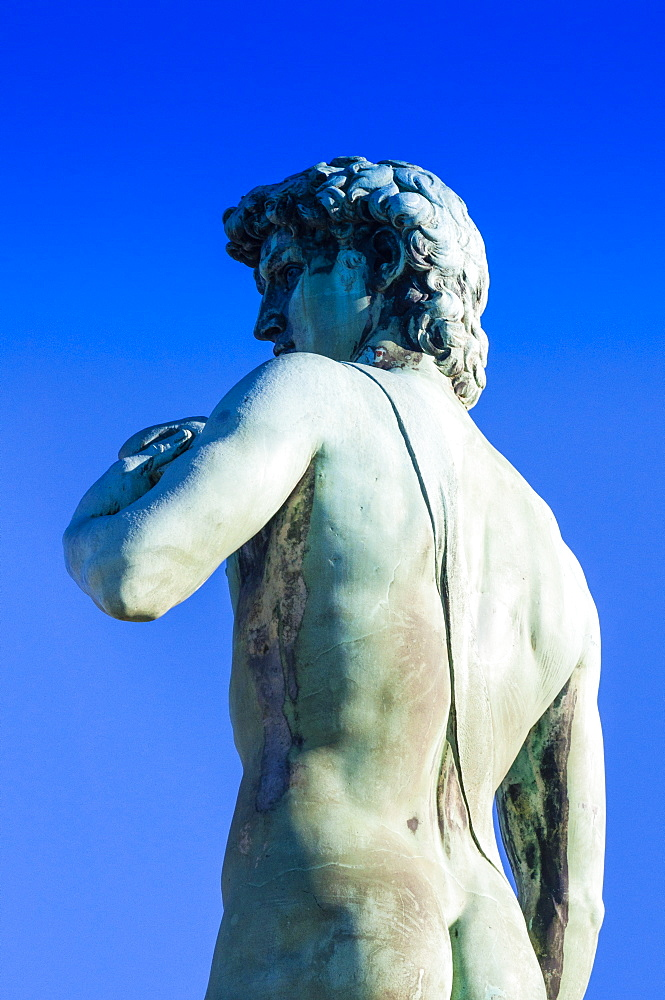 The David statue at Piazzale Michelangelo, UNESCO World Heritage Site, Florence (Firenze), Tuscany, Italy, Europe
