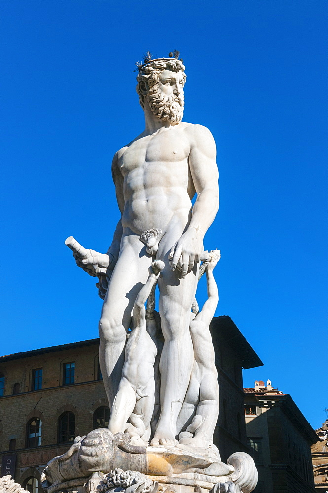Fountain of Neptune (Biancone), Piazza Signoria, Florence (Firenze), UNESCO World Heritage Site, Tuscany, Italy, Europe