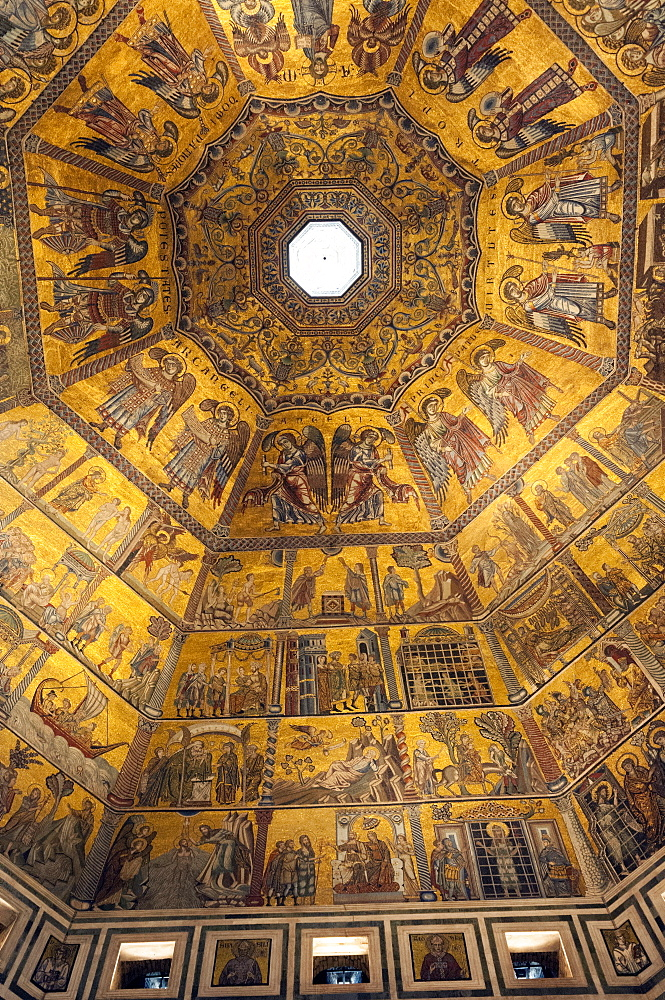 Mosaic ceiling of dome of the Battistero (Baptistry), Florence (Firenze), UNESCO World Heritage  Site, Tuscany, Italy, Europe