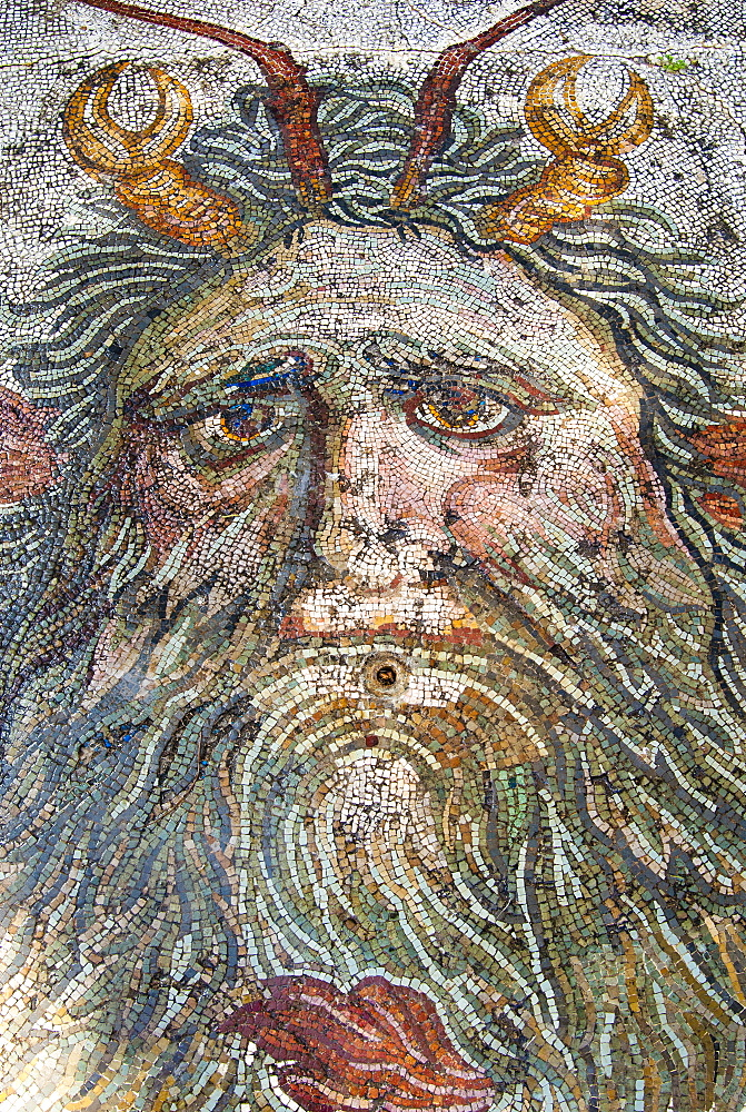 Mosaic, Neptune, Utica Punic and Roman archaeological site, Tunisia, North Africa, Africa