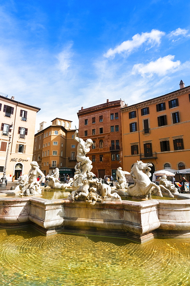 Fountain of Neptune, Piazza Navona, Rome, Unesco World Heritage Site, Latium, Italy, Europe - 765-1942