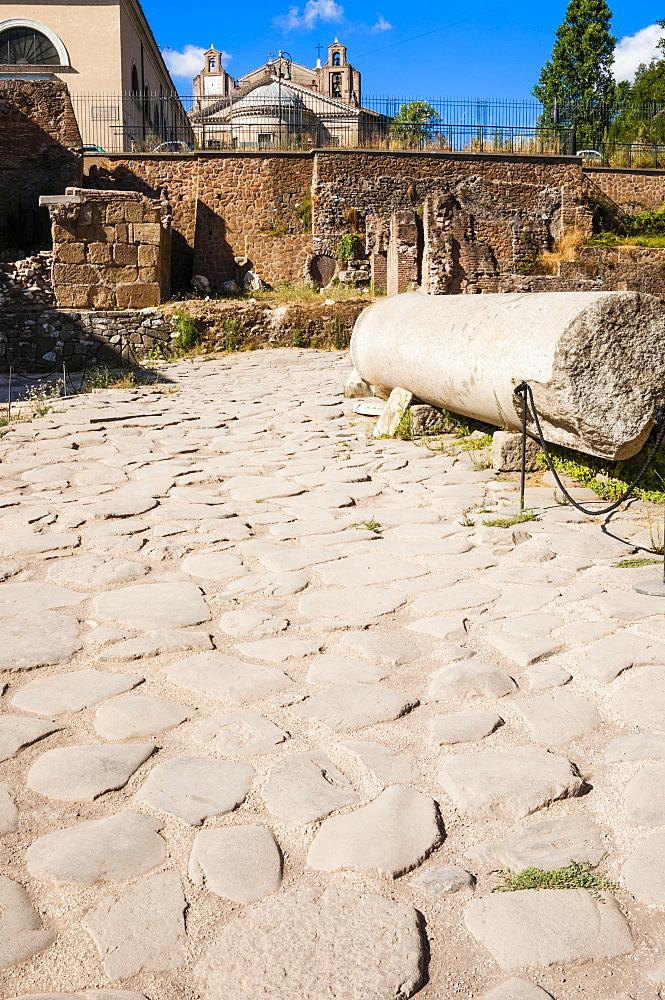 Vicus Iugarius, roman road, Roman Forum, Unesco World Heritage Site, Rome, Latium, Italy, Europe
