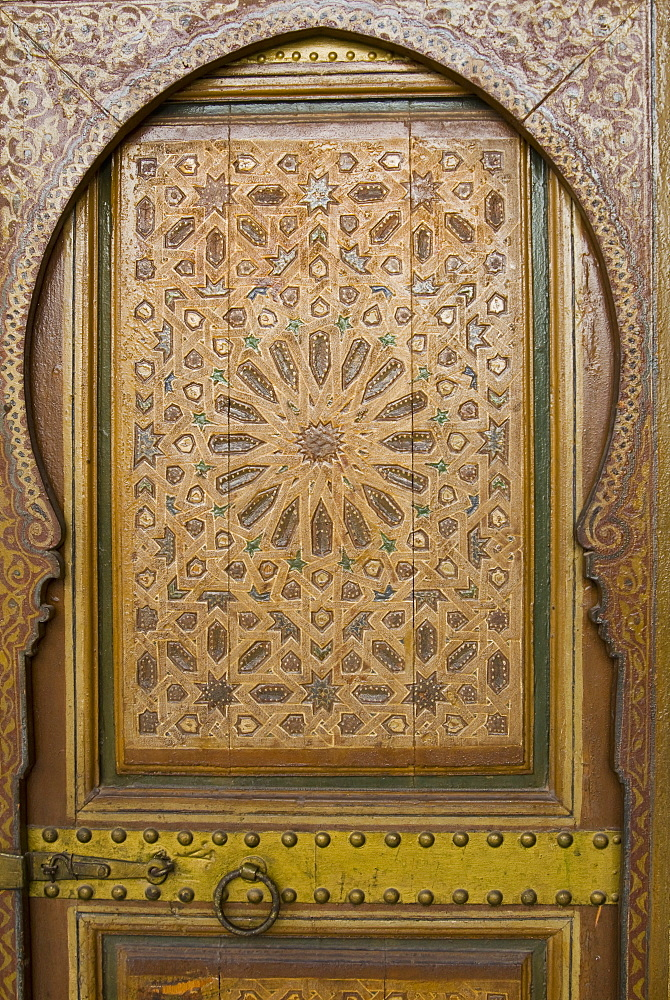 Ancient door in Bahia Palace, Marrakech (Marrakesh), Morocco, North Africa, Africa