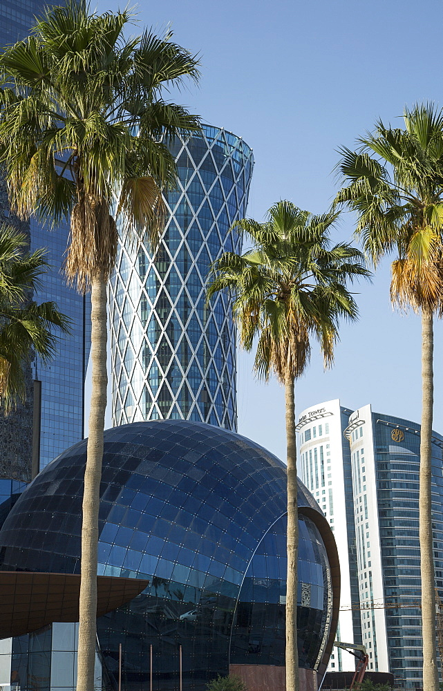 Futuristic skyscrapers downtown in Doha, Qatar, Middle East