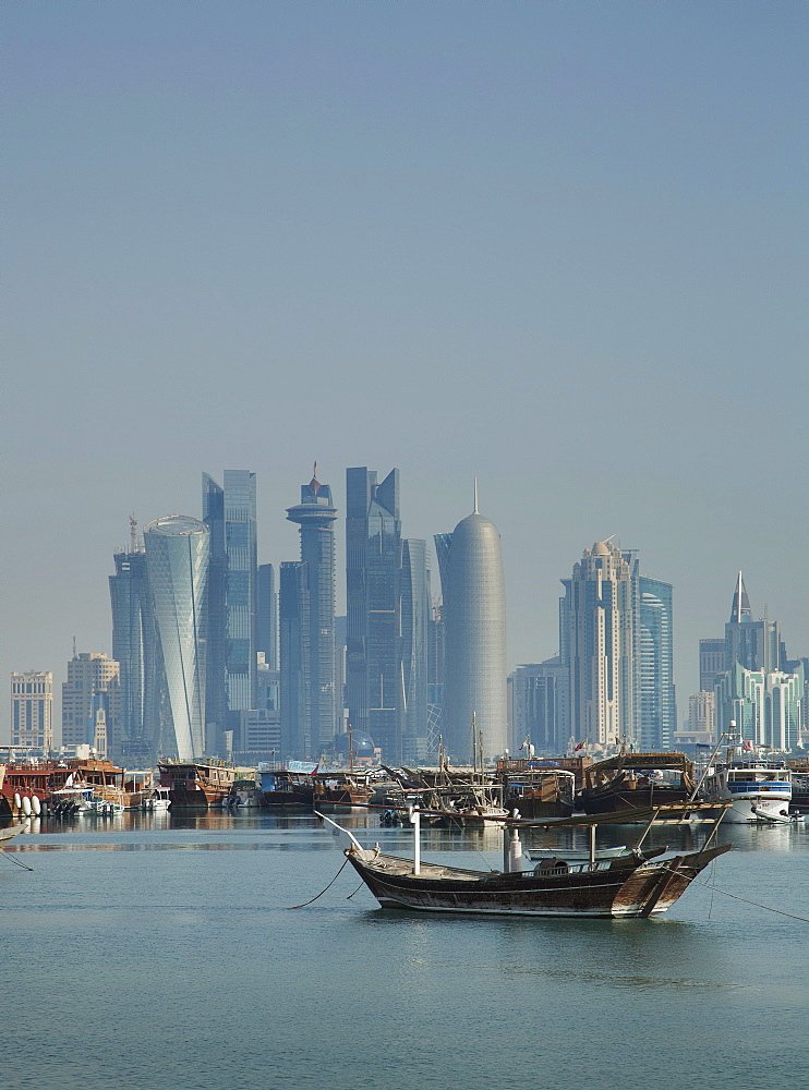 Futuristic skyscrapers in Doha, Qatar, Middle East