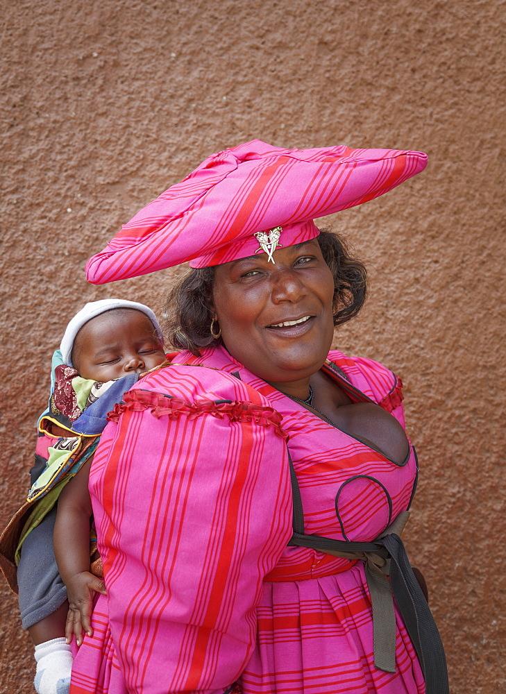 Himba woman and child, Kaokoland, Namibia, Africa - 772-3657