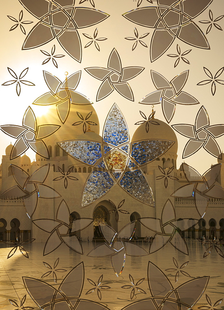 Decorated glass door in Sheikh Zayed Grand Mosque, Abu Dhabi, United Arab Emirates, Middle East - 772-3661