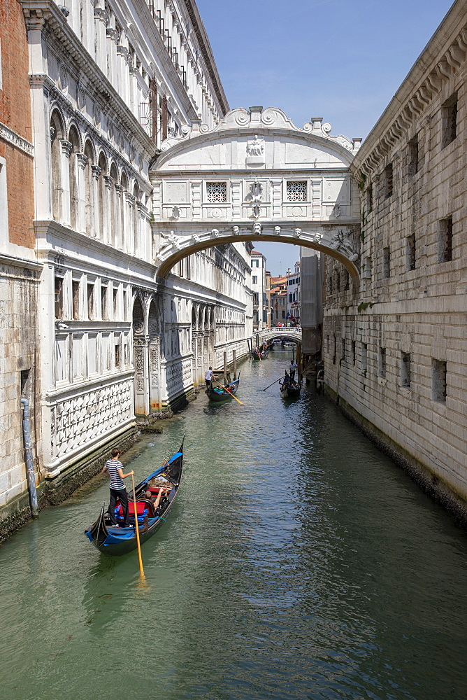 Gondolas under Bridge of Sighs in Venice, Italy, Europe