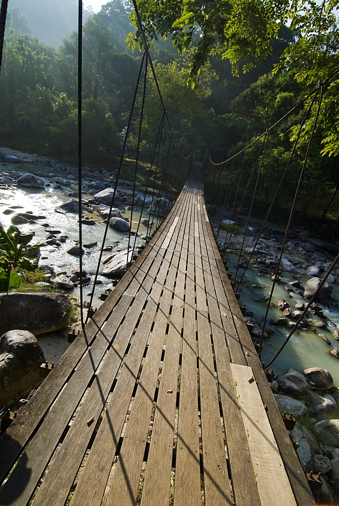 Wooden bridge over river, Ranong, Thailand, Southeast Asia, Asia - 784-209