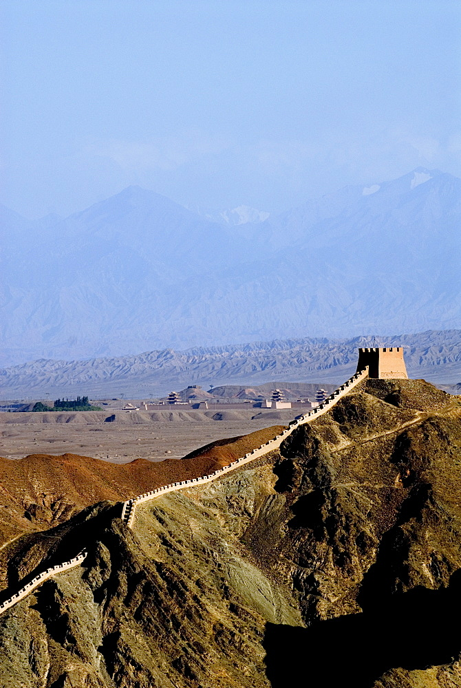 The beginning of the Great Wall, UNESCO World Heritage Site, Jiayuguan, Gansu, China, Asia - 784-34