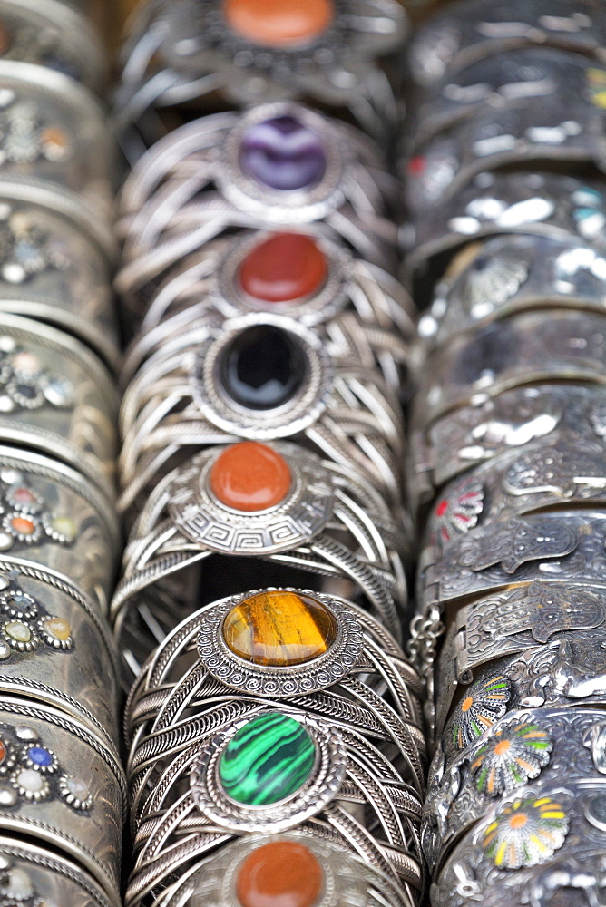 Traditional silver bracelets for sale in Rahba Kedima (Old Square), Marrakech, Morocco, North Africa, Africa