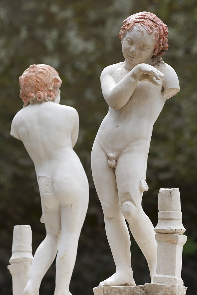 Statues of two boys in Herculaneum, UNESCO World Heritage Site, Campania, Italy, Europe