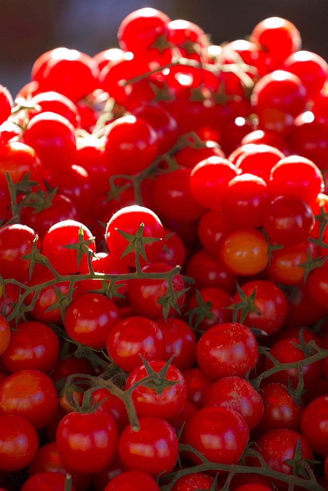 Cherry tomatoes for sale in market in Alberobello, Puglia, Italy, Europe