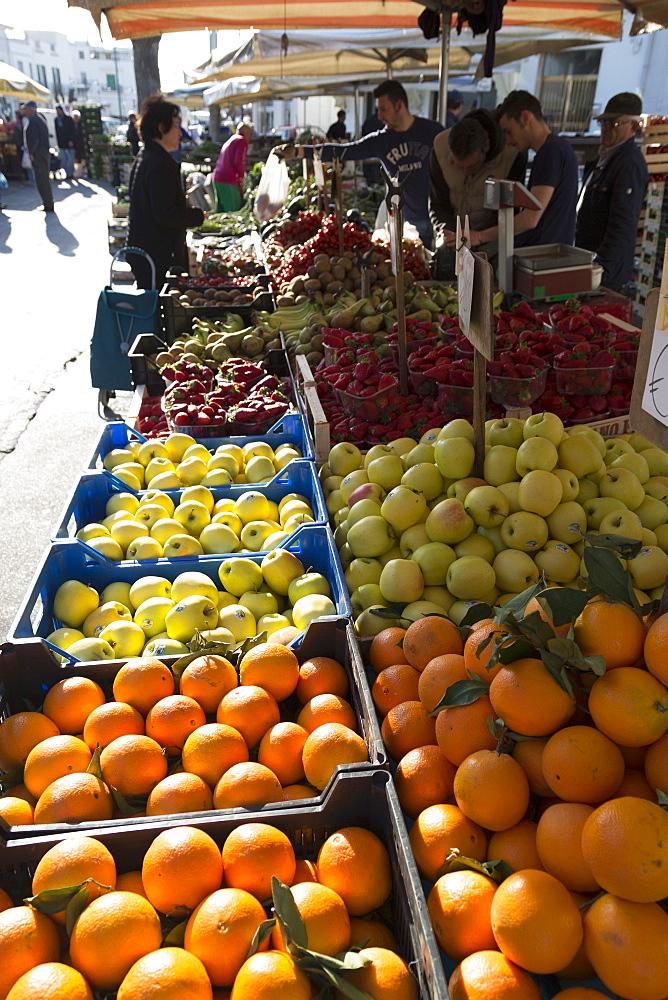 Fruit stall in market in Alberobello, Puglia, Italy, Europe